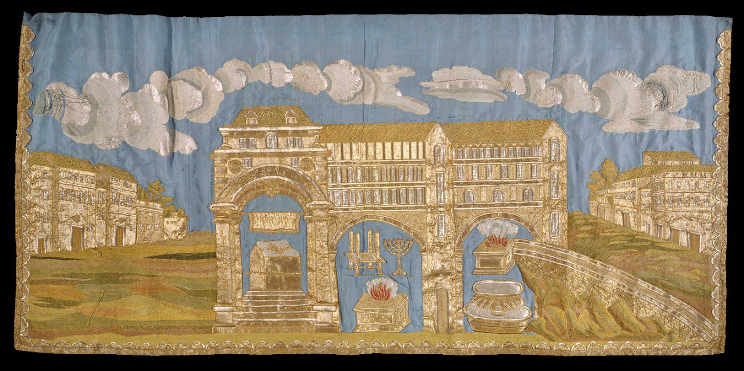 Mappà Ambron 1795-1796 raso ricamato e raso, taffetas, velo, ricamati a riporto  Museo Ebraico di Roma
