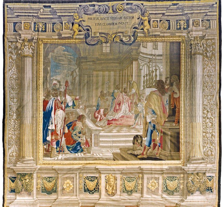 Agostino Melissi, attribuito (disegno e cartone) Pietro Févère (tessitura nella bottega di San Marco) Cosimo I riceve l'investitura di Gran Maestro dell'Ordine di Santo Stefano 1653-1655 lana, seta e filaticcio Depositi Arazzi di Palazzo Pitti, Gallerie degli Uffizi, Firenze