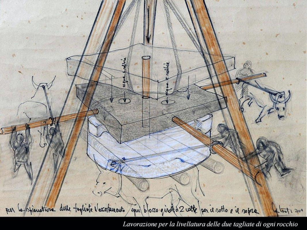 Claudio Capotondi Disegno ricostruttivo delle macchine utilizzate per la costruzione della Colonna Traiana