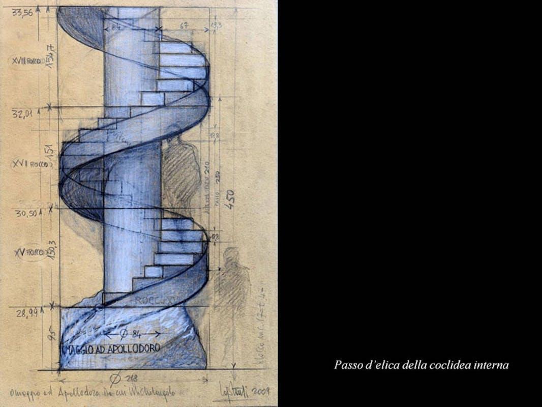 Claudio Capotondi Disegno della scala elicoidale presente all'interno della Colonna Traiana