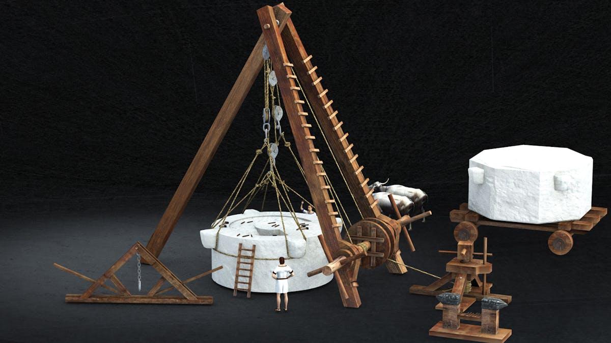 Modello ricostruttivo delle macchine di sollevamento utilizzate per la costruzione della Colonna Traiana