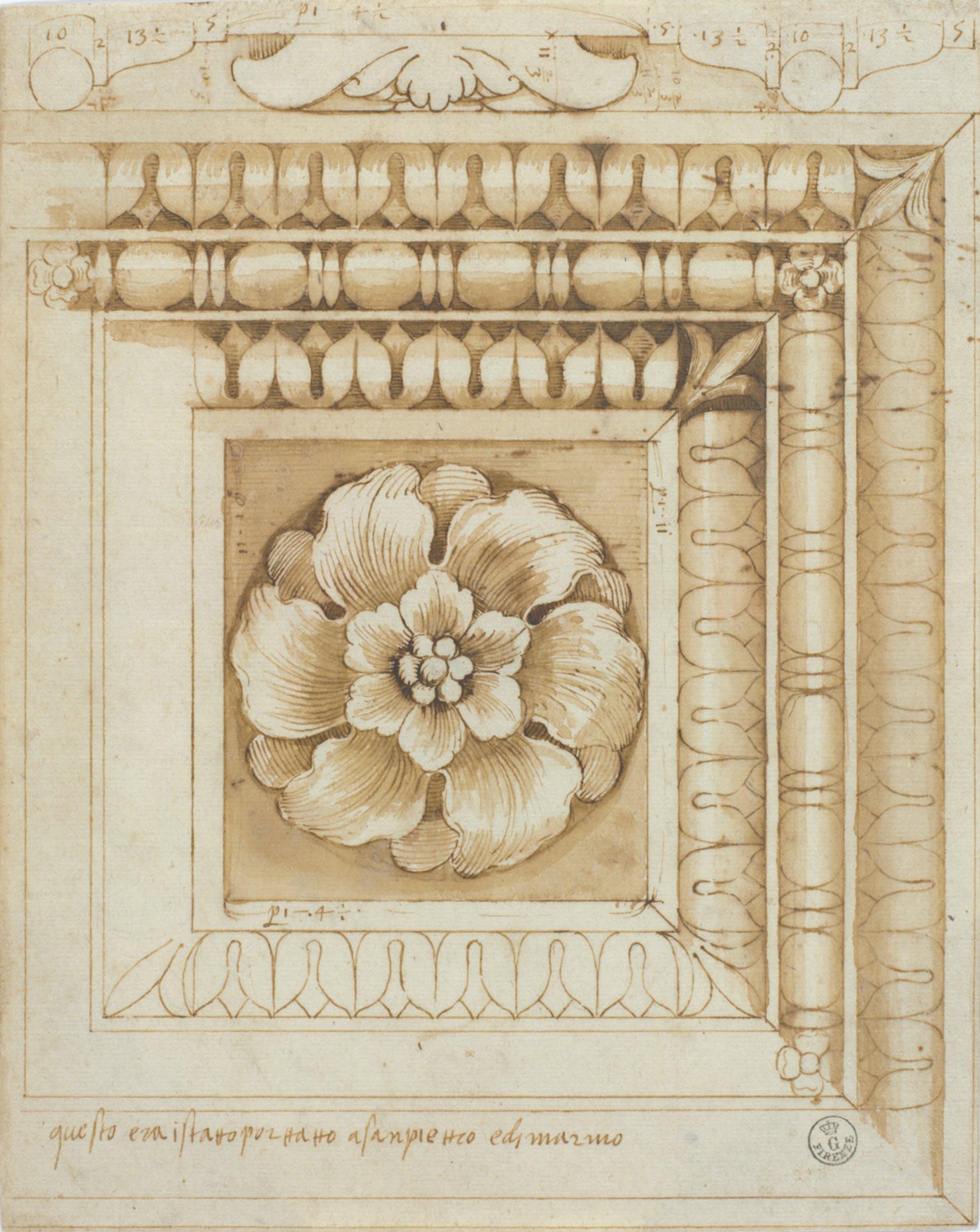 Pietro Rosselli Lacunare marmoreo antico stilo e penna su carta bianca Gabinetto dei Disegni e delle Stampe, Gallerie degli Uffizi, Firenze