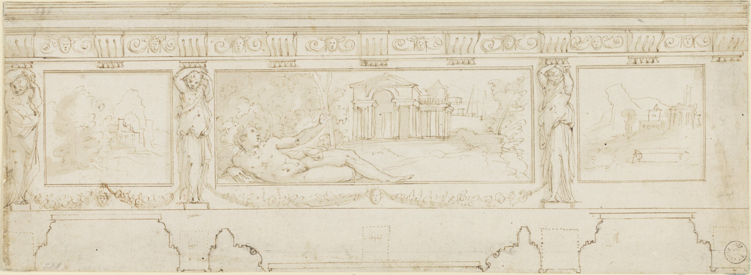 Giorgio Vasari Studio per fregio penna e acquerello su carta bianca Gabinetto dei Disegni e delle Stampe, Gallerie degli Uffizi, Firenze
