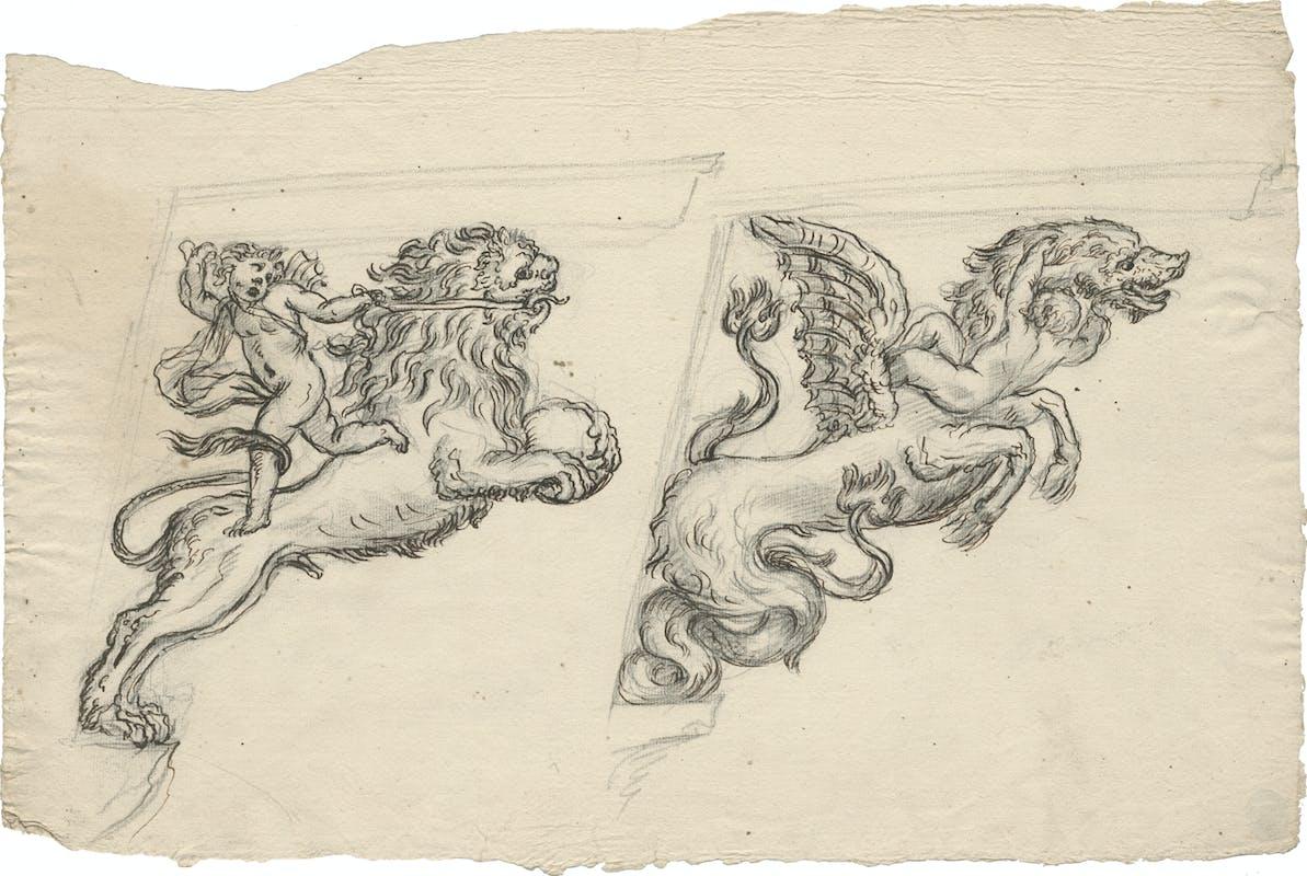 Massimiliano Soldani Benzi Studi per mensole raffiguranti un putto che trattiene un leone e un putto in lotta con un drago matita nera, penna e inchiostro bruno Gabinetto dei Disegni e delle Stampe, Gallerie degli Uffizi, Firenze
