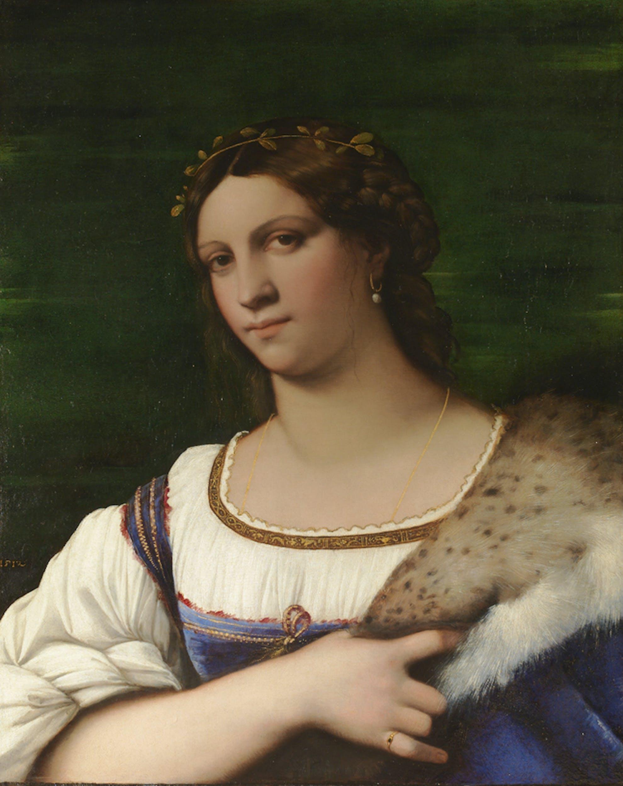 Sebastiano Luciani detto Sebastiano del Piombo Ritratto femminile 1512 olio su tavola Galleria delle Statue e delle Pitture, Gallerie degli Uffizi,