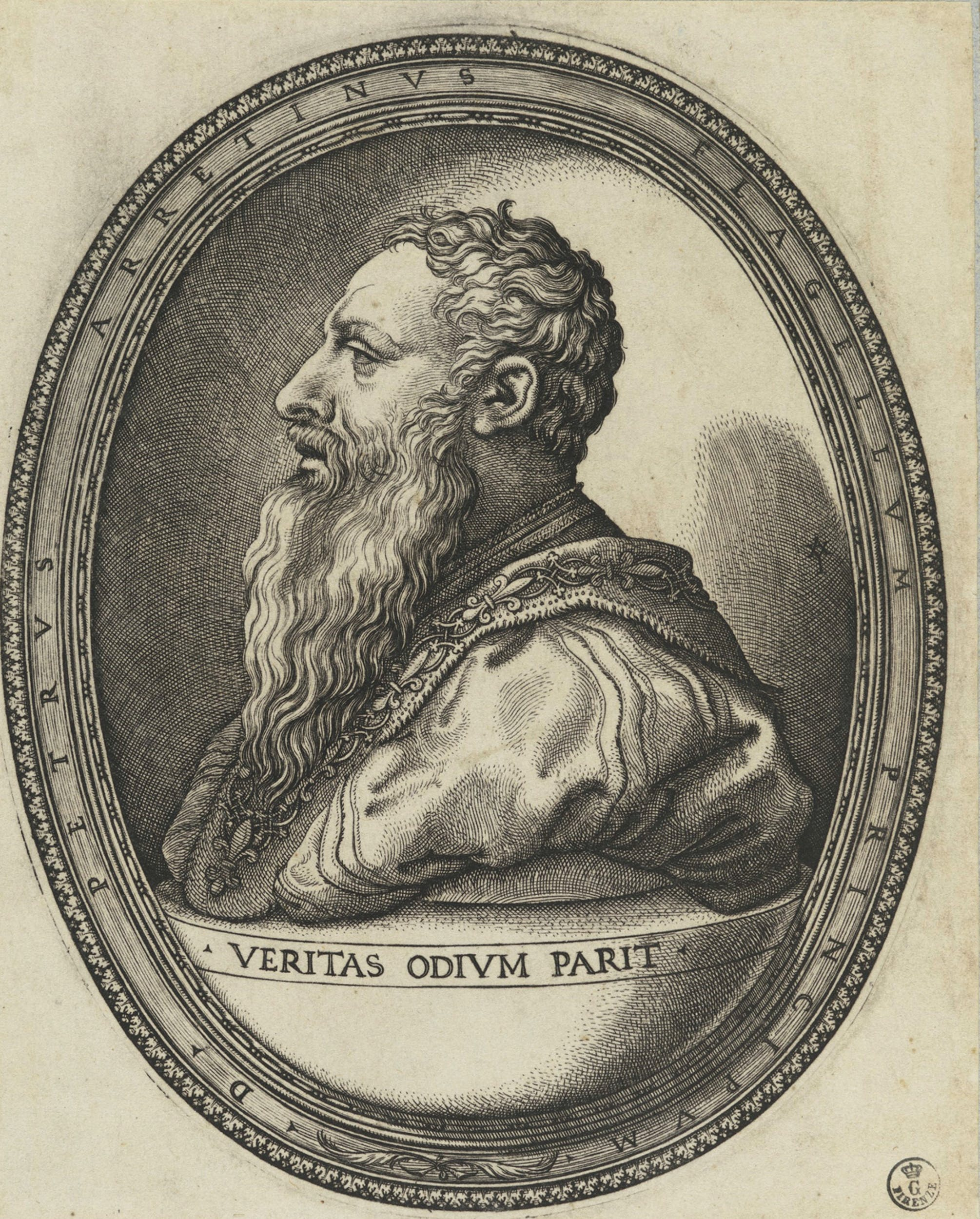 Giovan Giacomo Caraglio Ritratto di Pietro Aretino con motto 1646/1655 bulino Gabinetto dei Disegni e delle Stampe, Gallerie degli Uffizi, Firenze