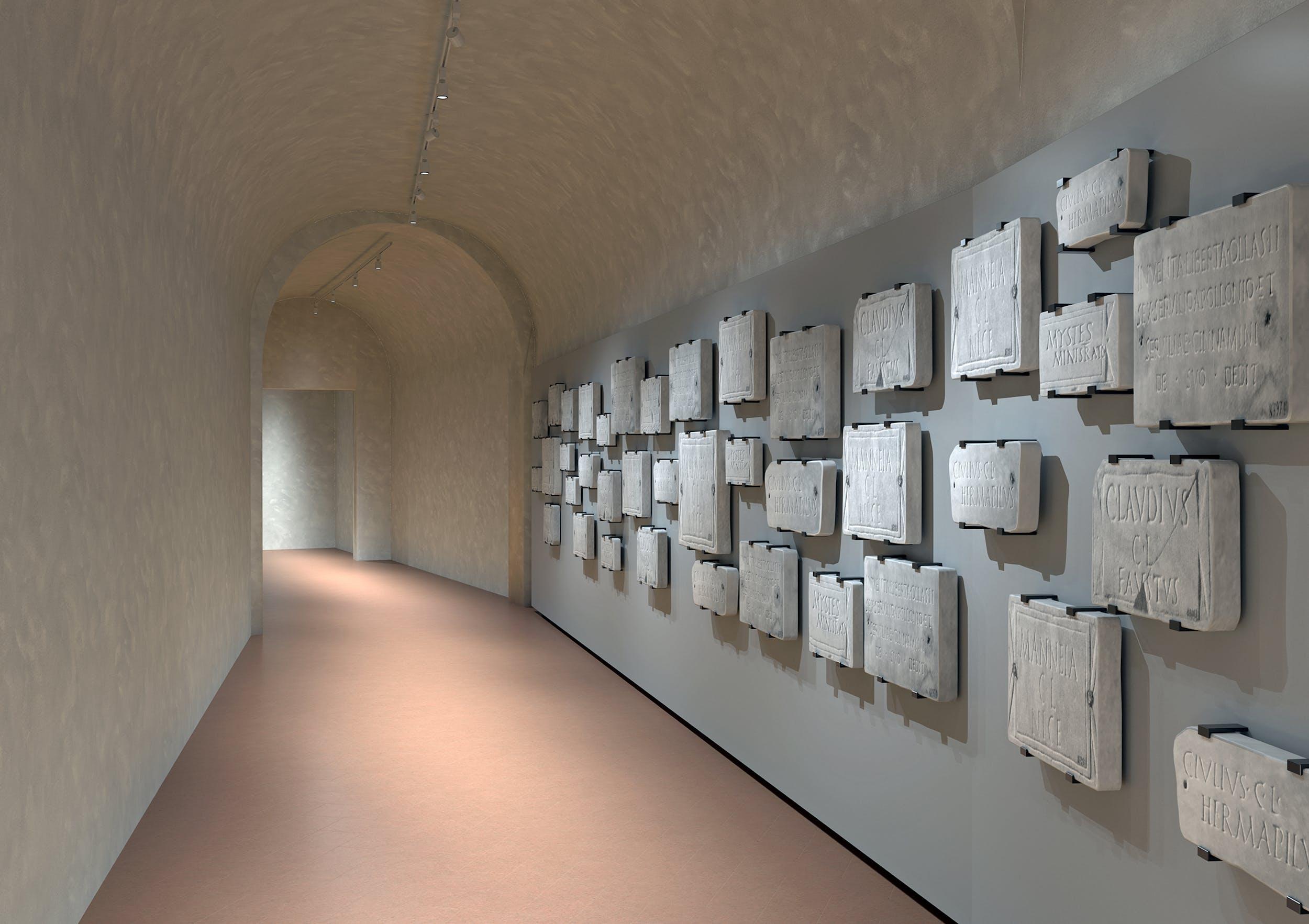 Corridoio Vasariano, rendering allestimento collezione di epigrafi