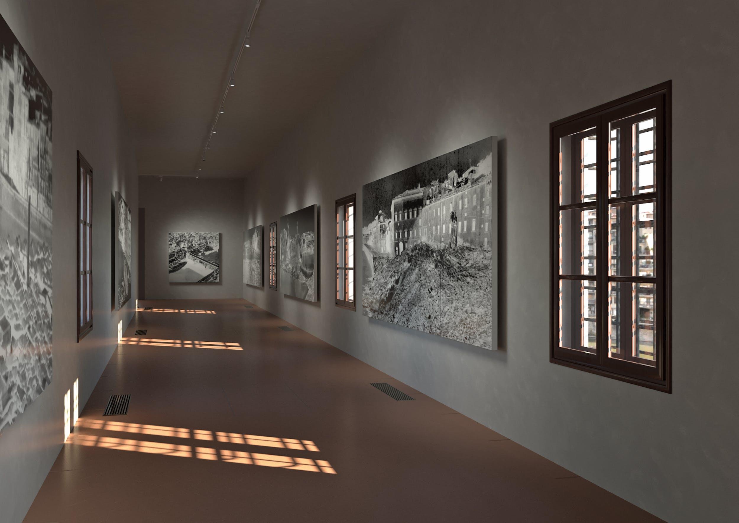 """Corridoio Vasariano, rendering allestimento dedicato alla """"Notte dei Ponti"""" del 4 agosto 1944"""