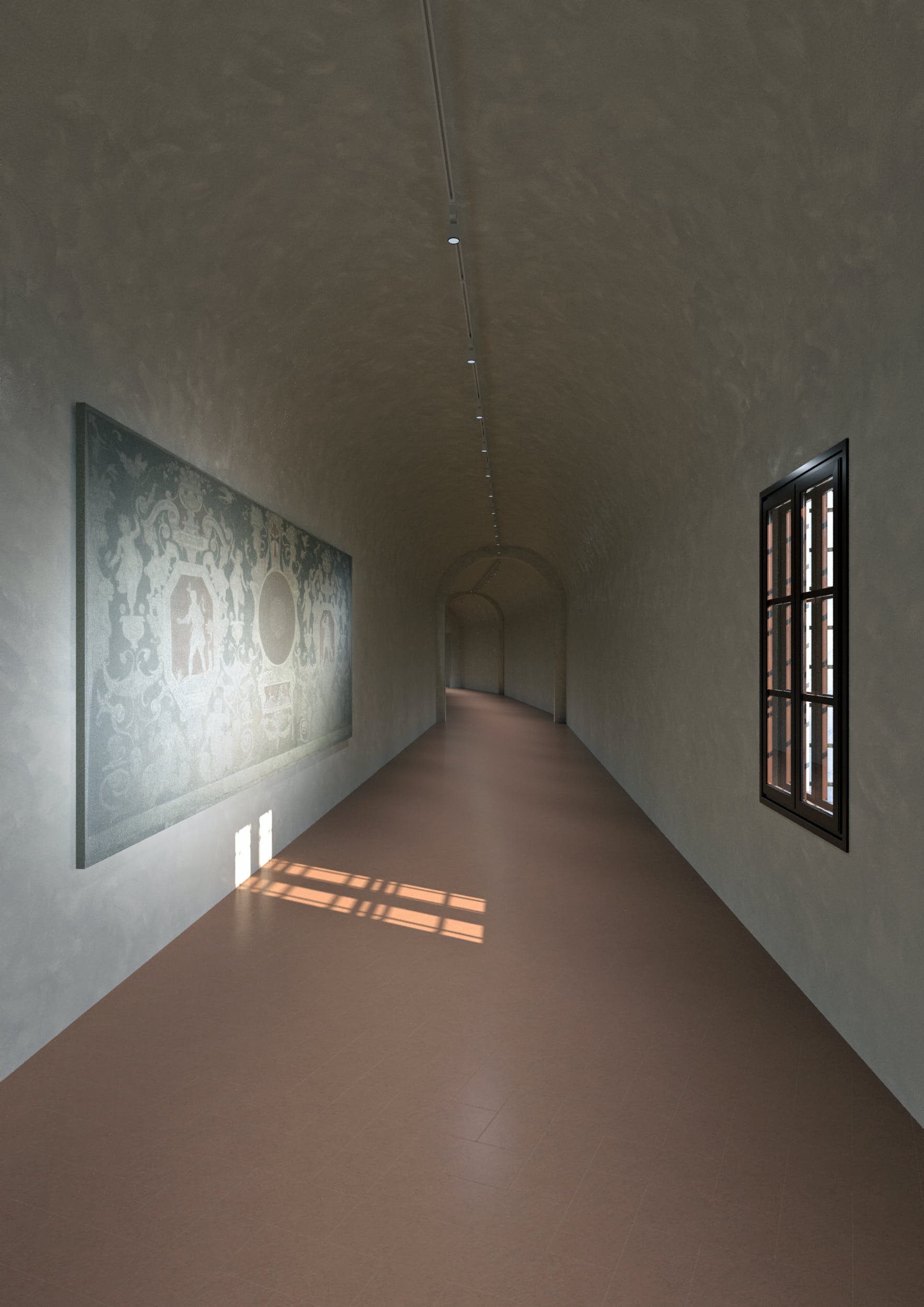 Corridoio Vasariano, rendering allestimento affreschi staccati del Cinquecento