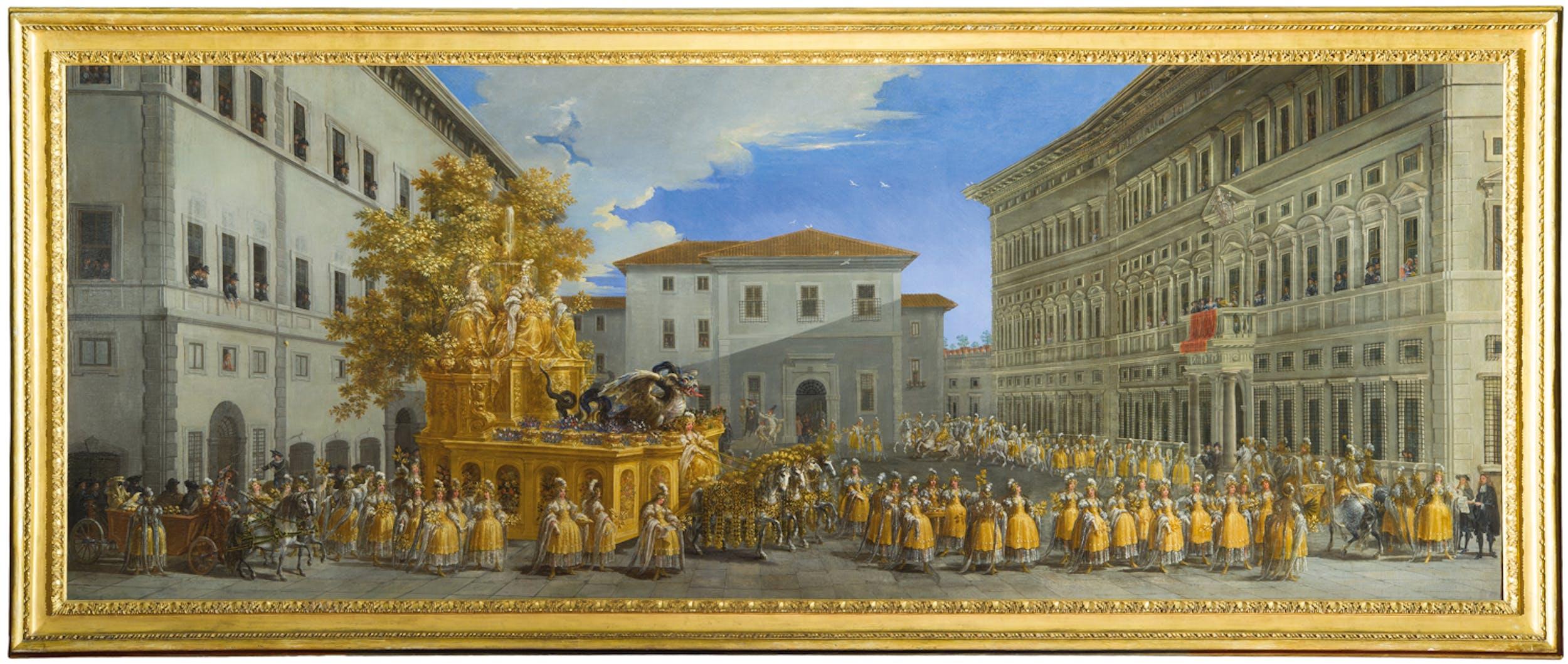 Fig. 1 Johann Paul Schor (Innsbruck 1615 - Roma 1674) Il corteo del principe Giovan Battista Borghese per il Carnevale di Roma del 1664 1664 olio su tela Gallerie degli Uffizi, Firenze