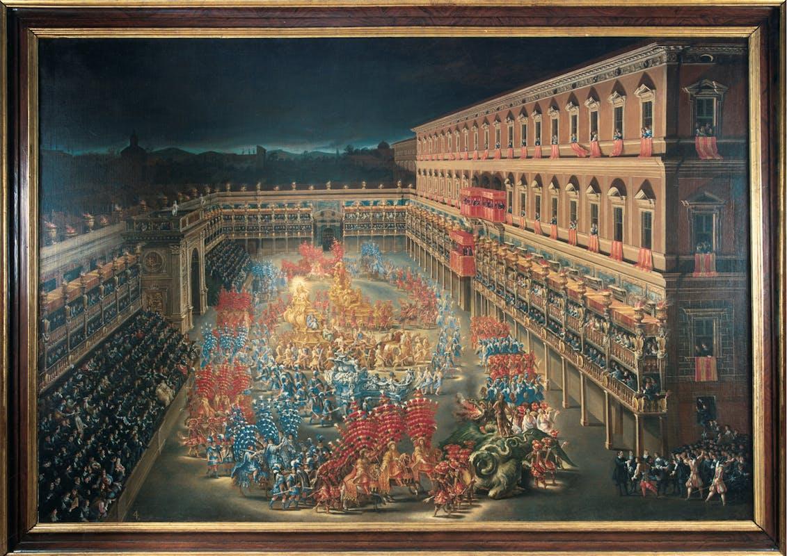 Fig. 2 Filippo Gagliardi (Roma 1606-1659) e Filippo Lauri (Roma 1623-1694) Carosello a Palazzo Barberini in onore di Cristina di Svezia nel Carnevale del 1656 1656-1657 circa olio su tela Museo di Roma, Roma