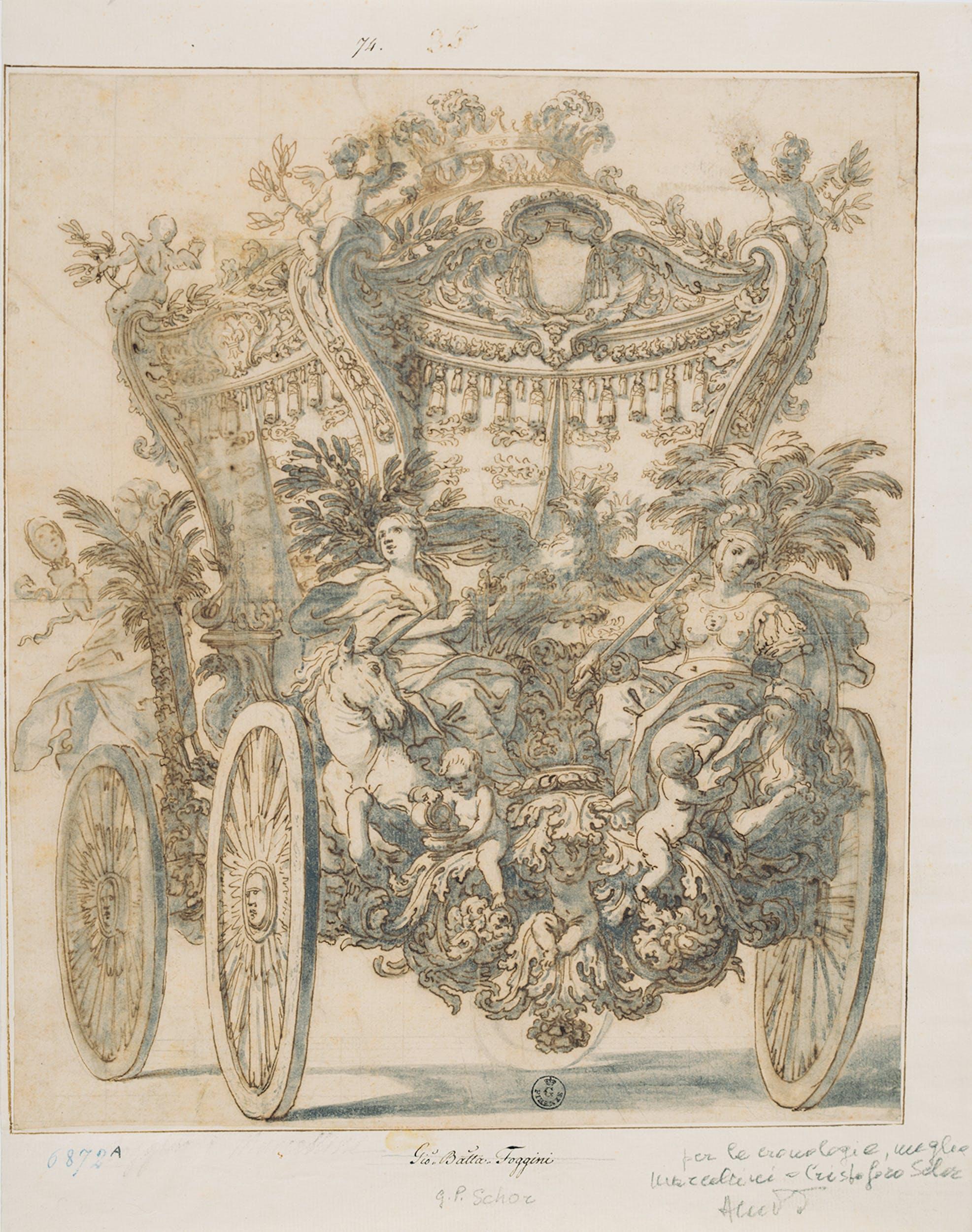 Fig. 6 Cerchia di Johann Paul Schor (Innsbruck 1615 - Roma 1674) Treno posteriore di carrozza 1670 circa matita, penna, inchiostro acquarellato su carta Gabinetto Disegni e Stampe, Gallerie degli Uffizi, Firenze