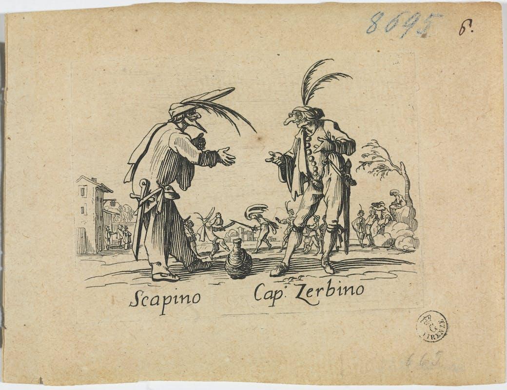 Fig. 11 Jacques Callot (Nancy 1592-1635) Scapino e Capitan Zerbino Tavola della serie di 24 acqueforti dei Balli di Sfessania  1621-1622 acquaforte Gabinetto Disegni e Stampe, Gallerie degli Uffizi, Firenze