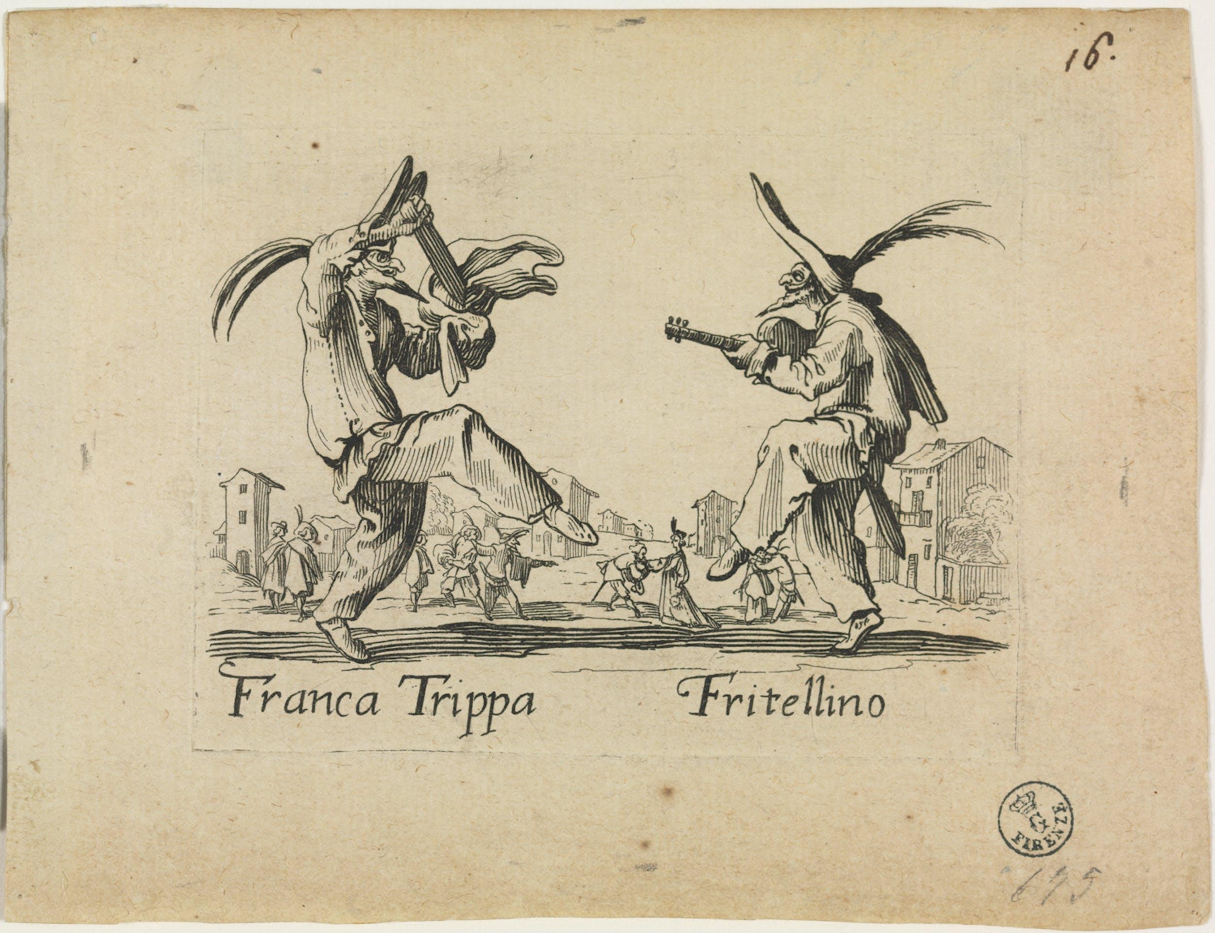 Fig. 12 Jacques Callot (Nancy 1592-1635) Franca Trippa e Fritellino Tavola della serie di 24 acqueforti dei Balli di Sfessania  1621-1622 acquaforte Gabinetto Disegni e Stampe, Gallerie degli Uffizi, Firenze