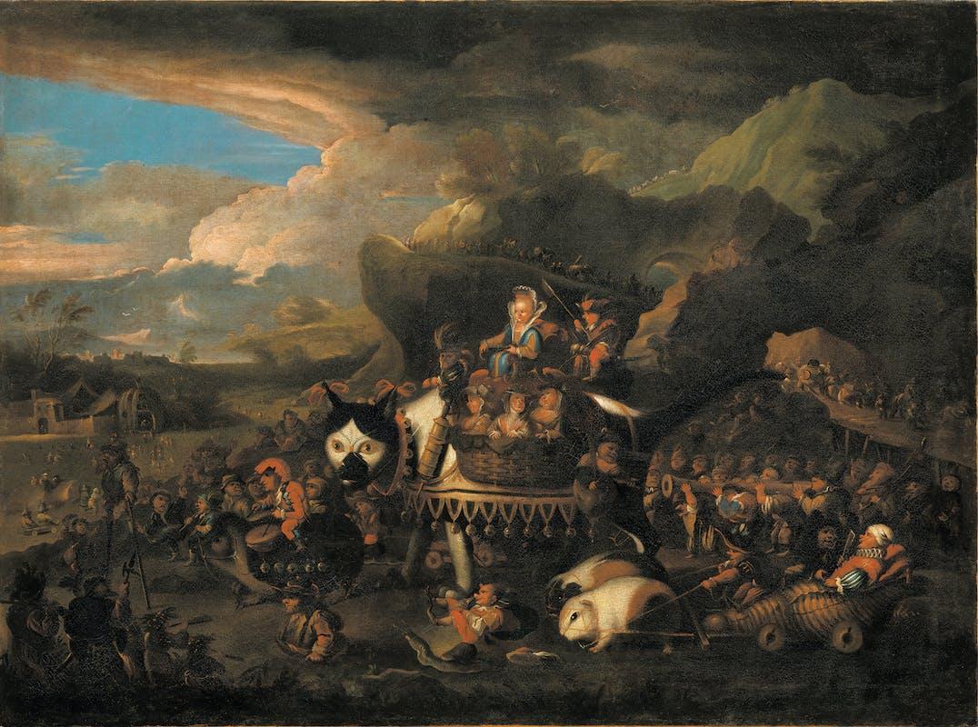 Fig.13 Faustino Bocchi (Brecia 1659-1741) Corteo trionfale di caramogi (Il gatto mammone) 1680-1690 olio su tela Galleria Palatina, Gallerie degli Uffizi, Firenze