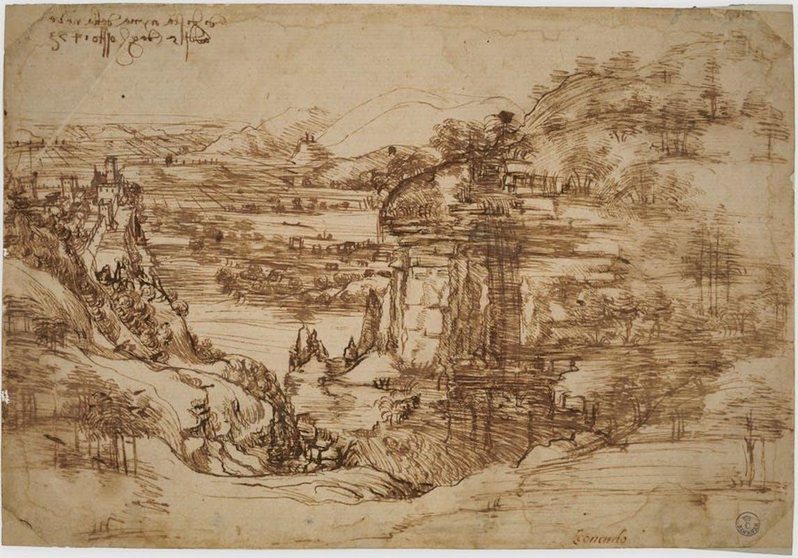 Leonardo Da Vinci, Paesaggio, inv. 8P,  recto.