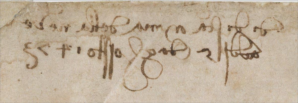 Leonardo Da Vinci, Paesaggio, inv. 8P, recto, particolare.