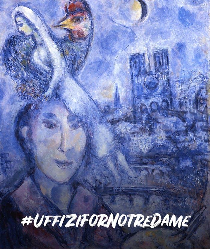 Gli Uffizi per Notre Dame, l'autoritratto di Chagall con la raffigurazione della Cattedrale esposto a Palazzo Pitti