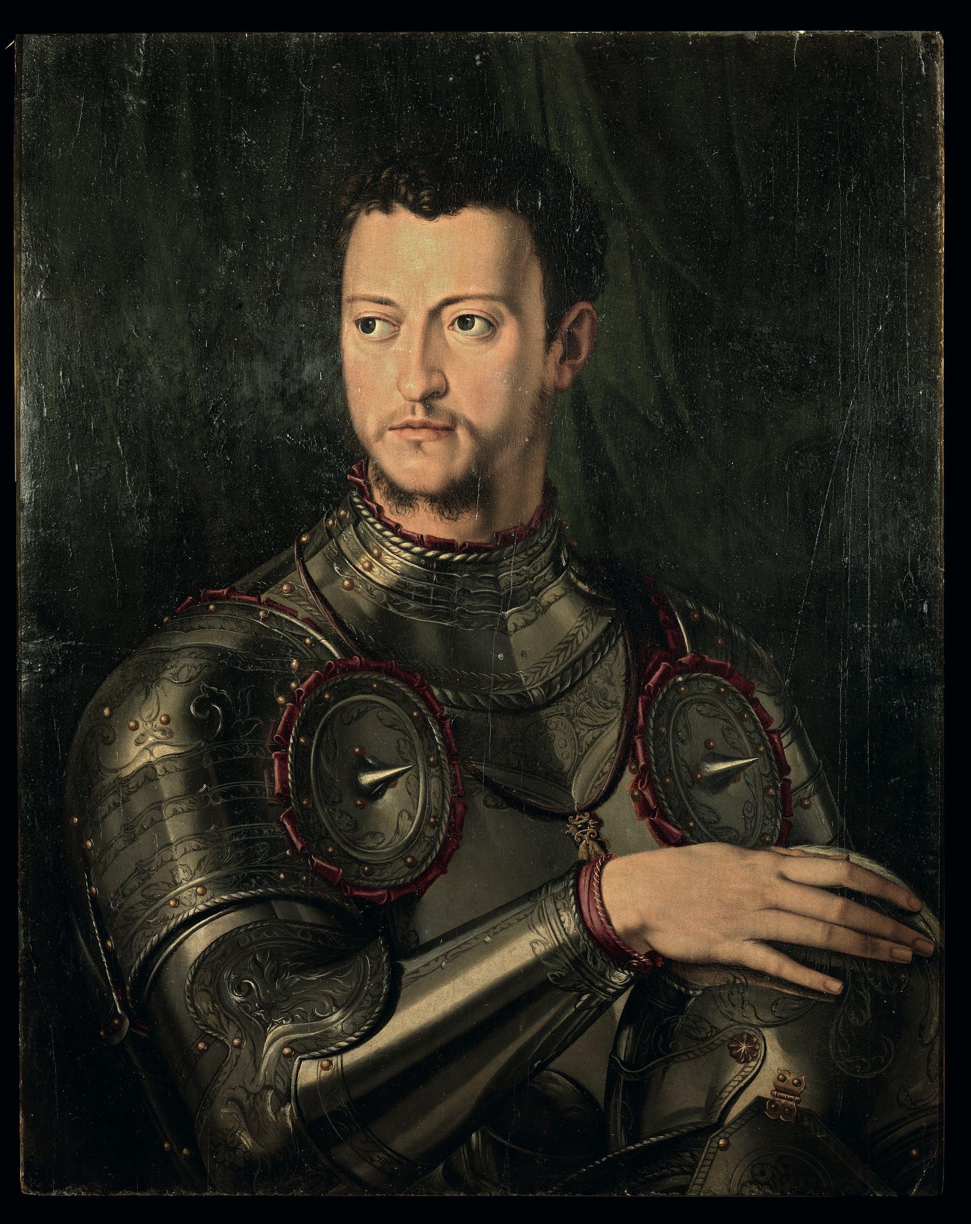Bottega di Agnolo Bronzino Ritratto di Cosimo I de' Medici in armatura 1543-1545 olio su tavola Galleria Palatina, Gallerie degli Uffizi, Firenze