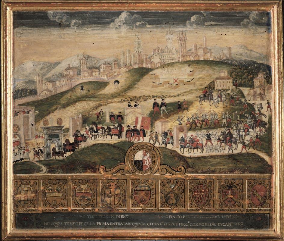 Pittore anonimo Solenne ingresso di Cosimo I a Siena (Tavoletta di Biccherna) 1560-1561 tempera e oro su tavola Siena, Archivio di Stato