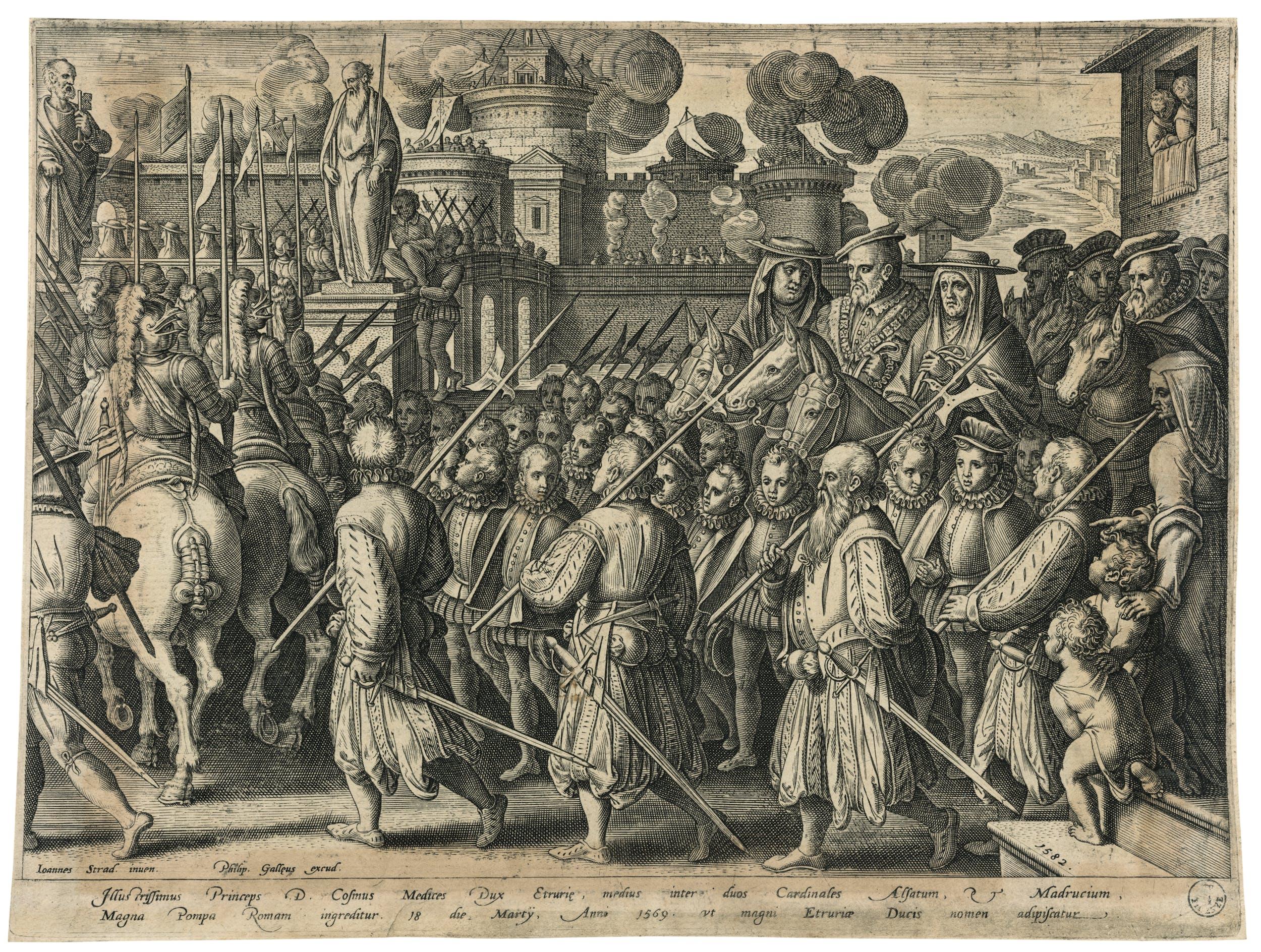 Philips Galle (1537-1612) da Giovanni Stradano (1523-1605) L'Entrata di Cosimo I in Roma 1582 bulino Gabinetto dei Disegni e delle Stampe, Gallerie degli Uffizi, Firenze