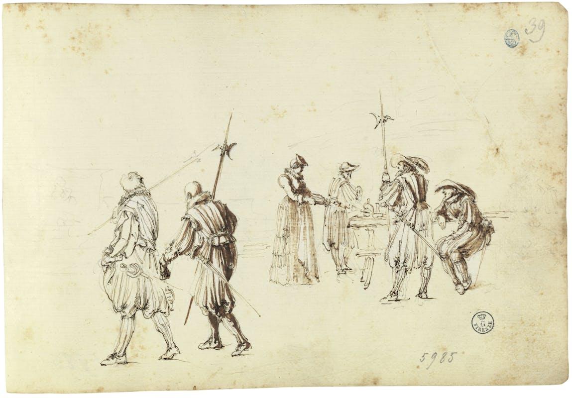 Stefano Della Bella (1610-1664) Figure di Lanzi con scena di osteria 1636 ca. disegno a penna e acquerello su carta bianca Gabinetto dei Disegni e delle Stampe, Gallerie degli Uffizi, Firenze