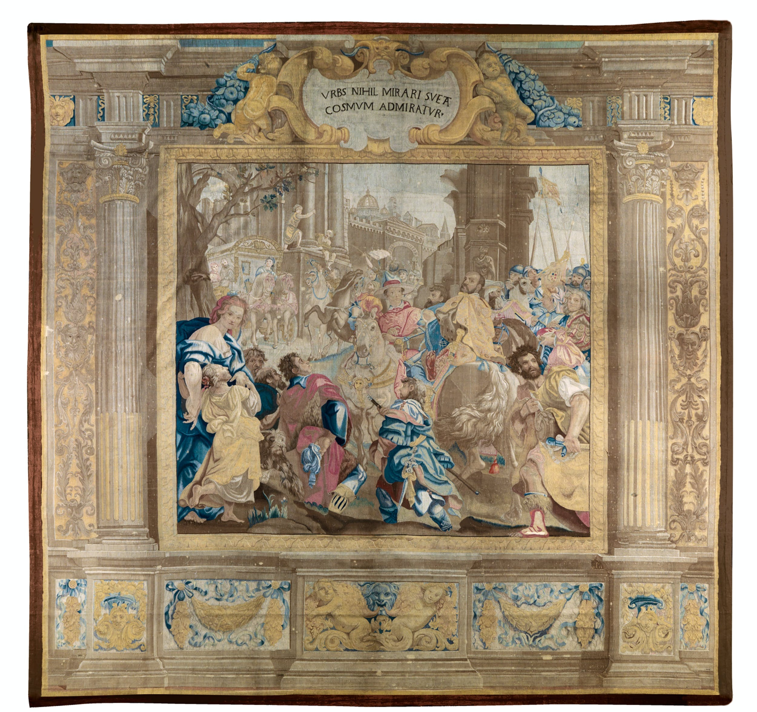 Cosimo Ulivelli, disegnatore Bernardino van Asselt Visita di Cosimo I a Roma insieme al figlio cardinal Giovanni 1659-1662 lana e seta; cm 518,5 x 551 Museo degli Arazzi, Gallerie degli Uffizi, Firenze | Cosimo Ulivelli, drawing and cartoon Bernardino van Asselt Cosimo I visits Rome with his son Cardinal Giovanni 1659-1662 wool and silk; 518,5 x 551 cm. Museo degli Arazzi, Gallerie degli Uffizi, Florence