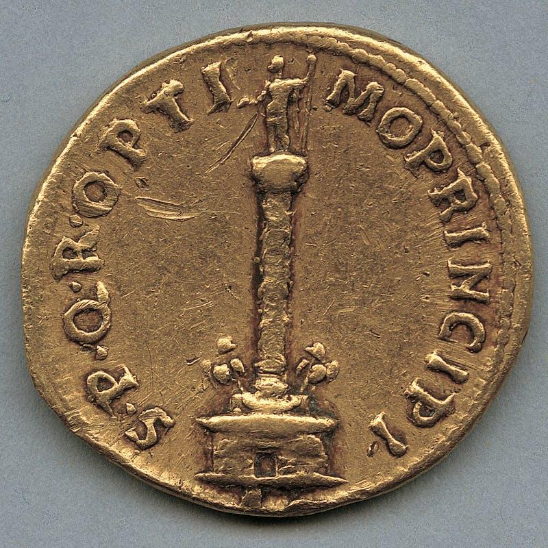 Fig. 2a, Fig. 2b Aureo di Traiano con Colonna 113-114 d.C. oro Medagliere del Museo Nazionale Romano, Roma|Fig. 2a, Fig. 2b Trajan's aureus with Column 113-114 A.D.  Gold Coin Collection, Museo Nazionale Romano, Rome