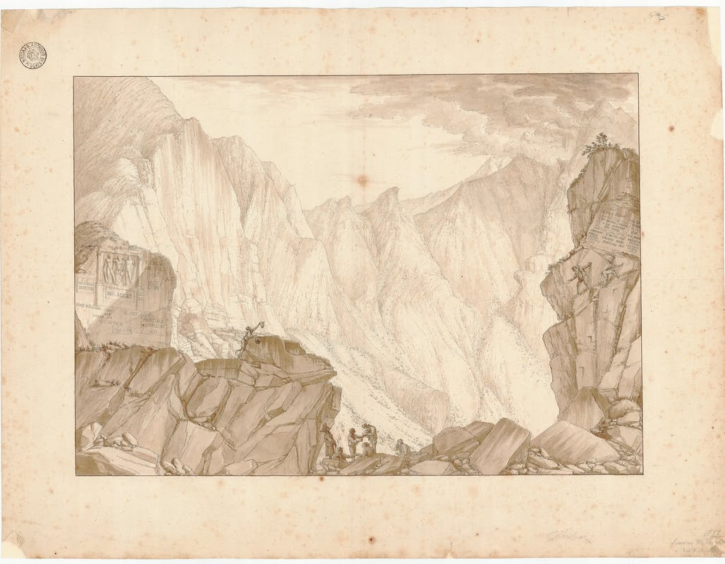 Fig. 3 Saverio Salvioni (1755-1833) Veduta delle cave di Carrara. Fantiscritti e Val di Chiaro china acquarellata su carta 1810-1813 Archivio di Stato di Massa, Massa | Fig. 3 Saverio Salvioni (1755-1833) Views of the Carrara Quarries. Fantiscritti and Val di Chiaro Watercolour India ink on paper 1810-1813 Archivio di Stato di Massa, Massa