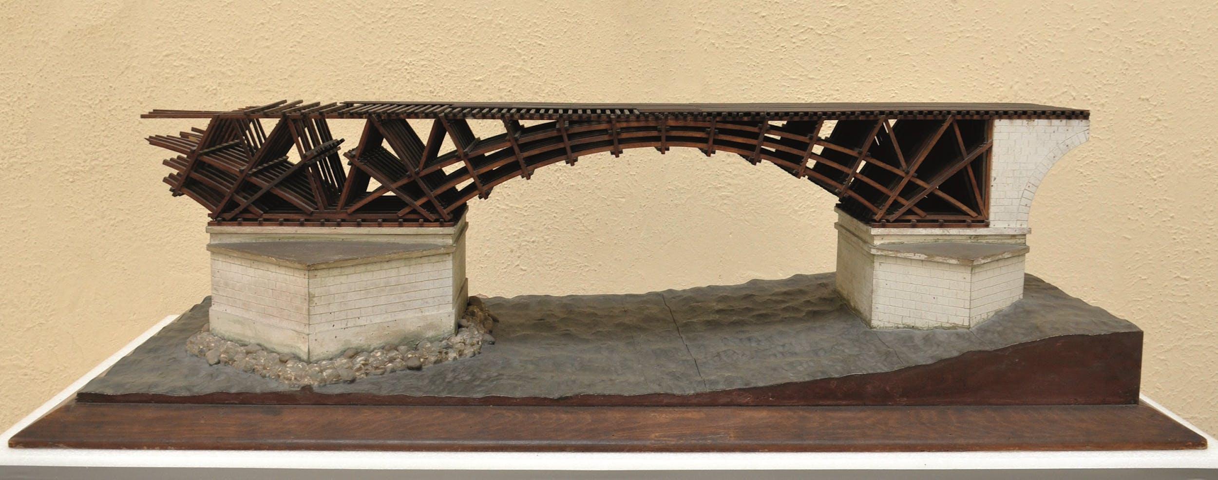 Fig. 16 Italo Gismondi Reconstruction of the Bridge over the Danube Model in 1:50 scale Museo della Civiltà Romana, Rome