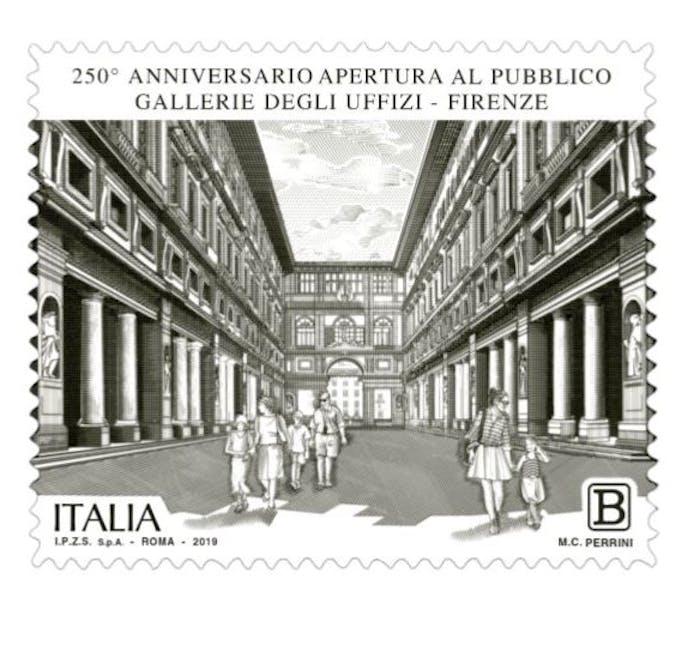 Un francobollo celebra i 250 anni di apertura degli Uffizi!