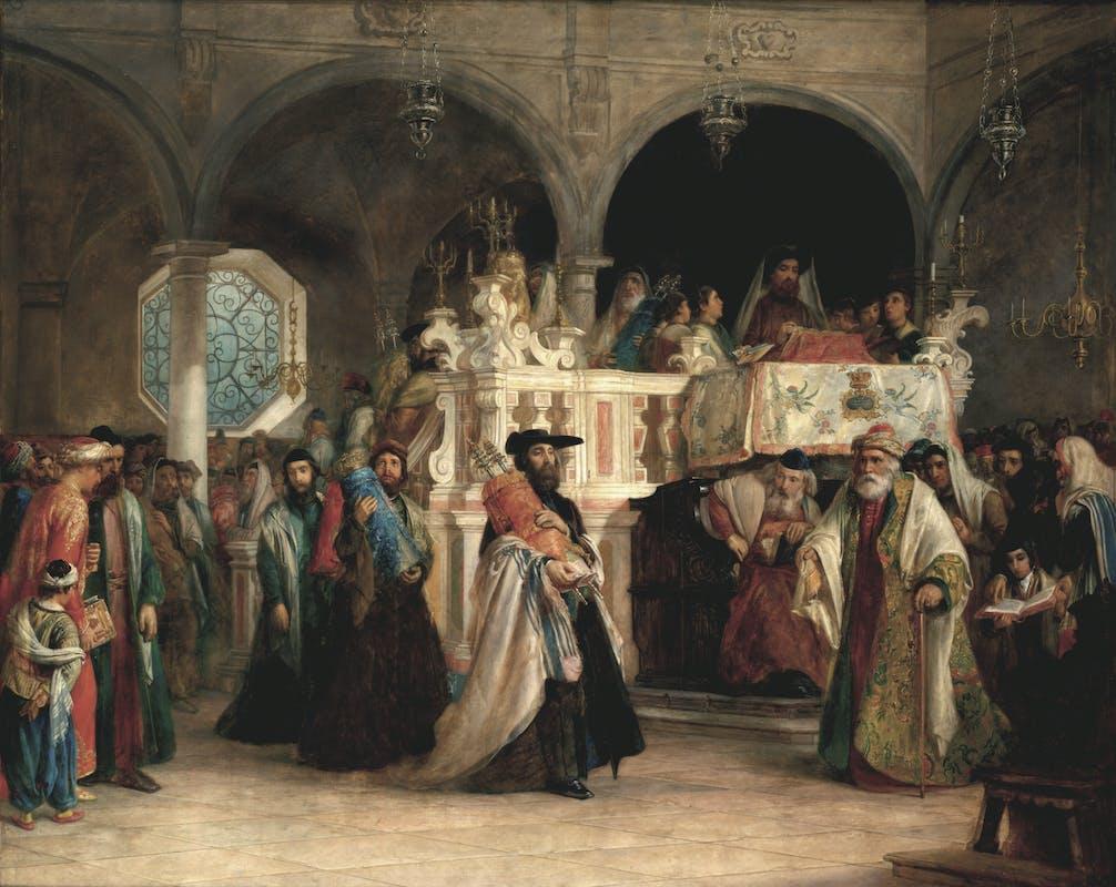 Solomon Alexander Hart (Plymouth 1806 – Londra 1881) La festa di Simchàt Toràh nella sinagoga di Livorno 1850 olio su tela The Jewish Museum, New York