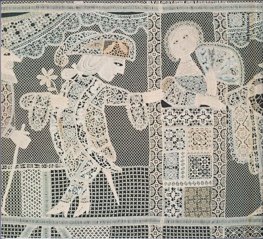 Emanuele (Lele) Luzzati (Genova 1921-2007) Manifattura Mario Zennaro I fasti e le immagini della Commedia dell'Arte Italiana 1964 pizzo a tombolo Museo del Pizzo al Tombolo, Rapallo