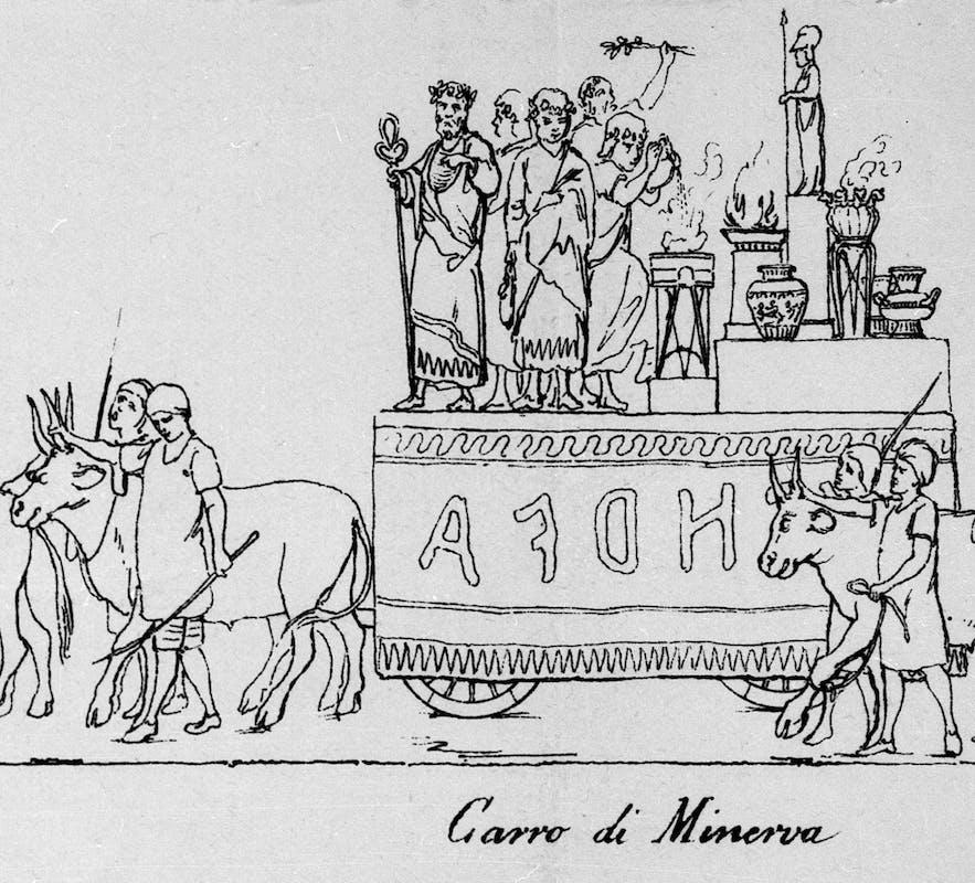Carro Lucumone e moglie, dettagli tratti dall'incisione di Anacleto Guadagnini della sfilata del Carnevale del 1874