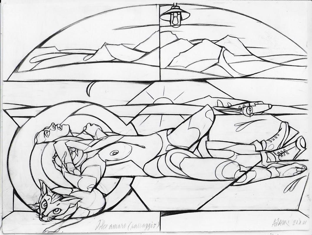 Valerio Adami Dolce amaro (paesaggio) 2001 matita su carta  48x36 cm