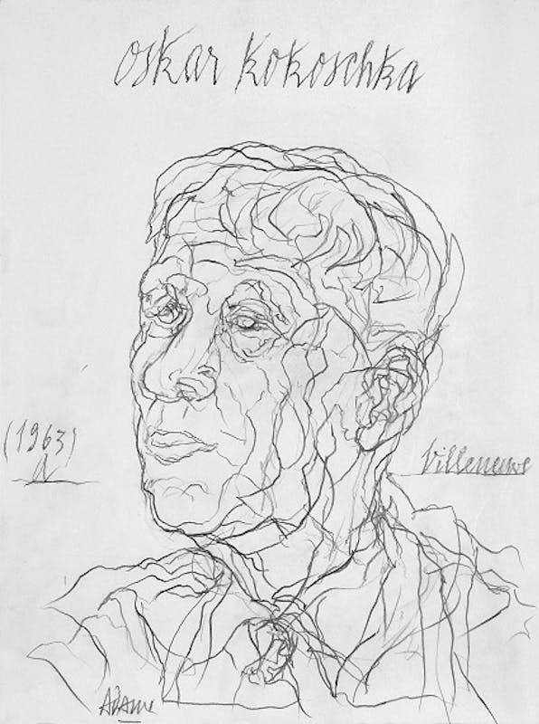 Valerio Adami Oskar Kokoschka 2019 matita su carta  36x48 cm
