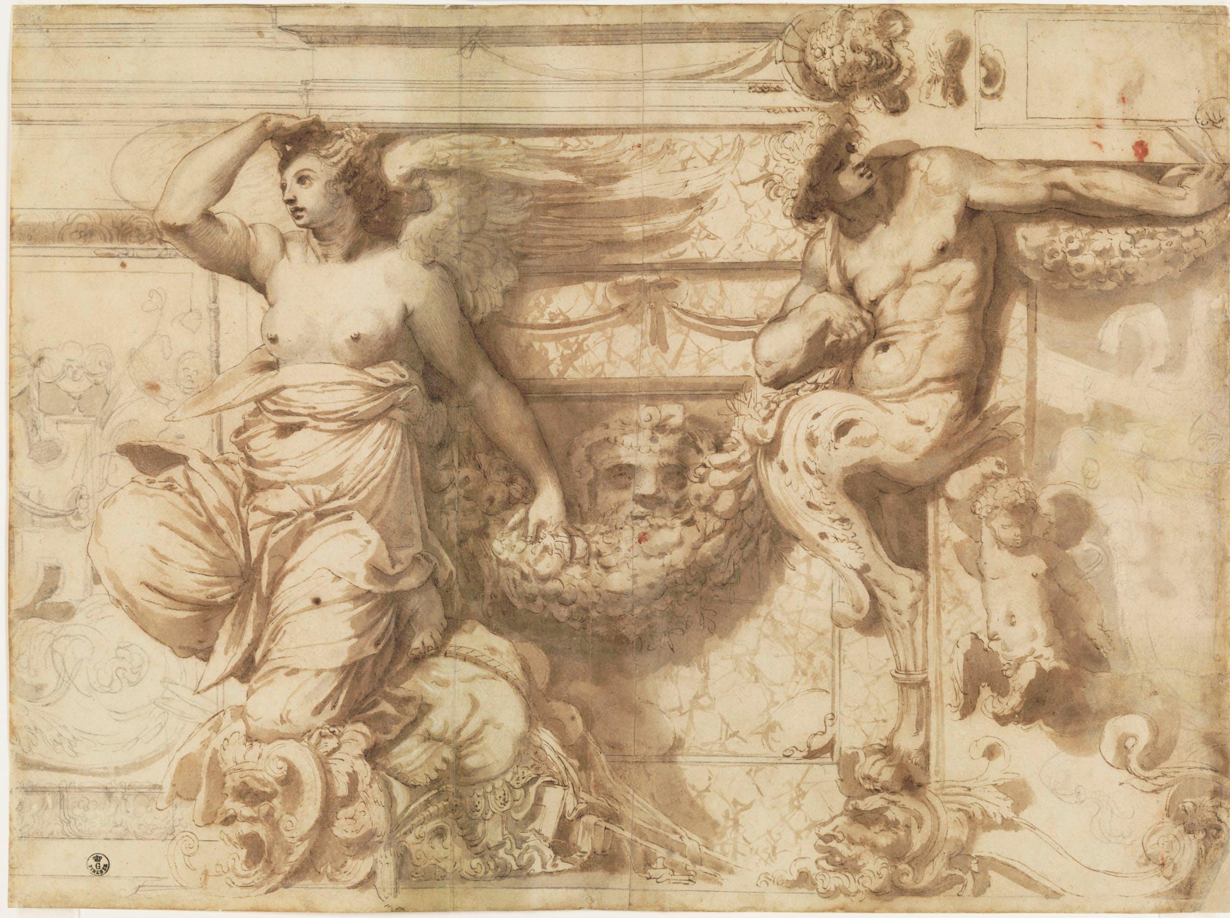 Perin del Vaga, Fregio ornato di figura alata, cariatide e putto, Gabinetto Disegni e Stampe degli Uffizi, inv. 726 E