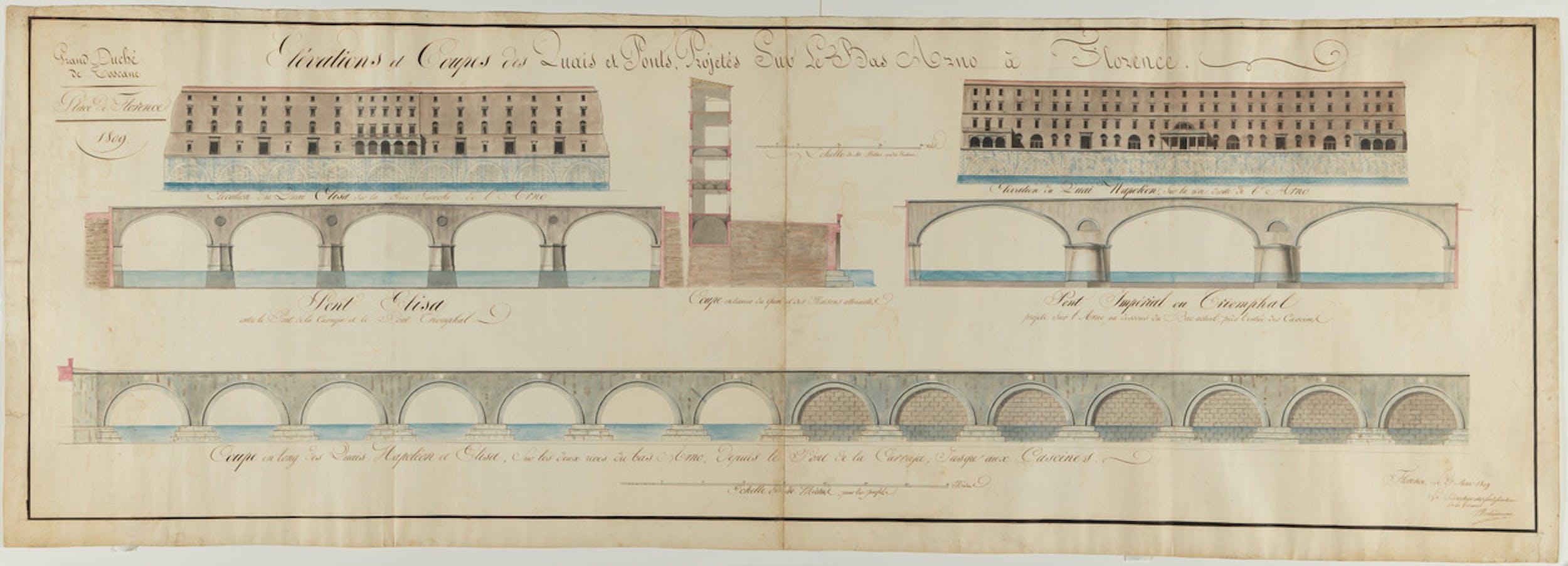 Progetto per due ponti sull'Arno - Hyacinthe Boucher de Morlaincourt