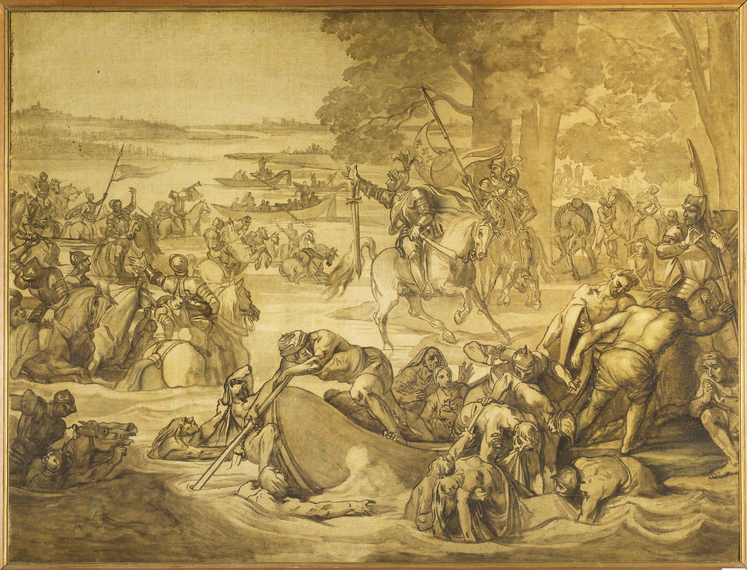 Giuseppe Bezzuoli (1789-1855), Bozzetto preparatorio per il dipinto 'Giovanni delle Bande Nere al passaggio dell'Adda'  1852 ca.  olio su tela, cm 86,5x113,5