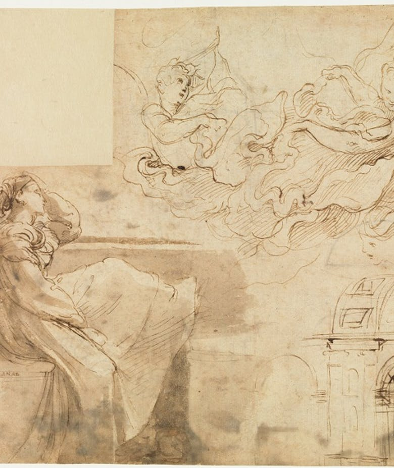 Young woman seated on the parapet of a window and other studies of figures and architecture