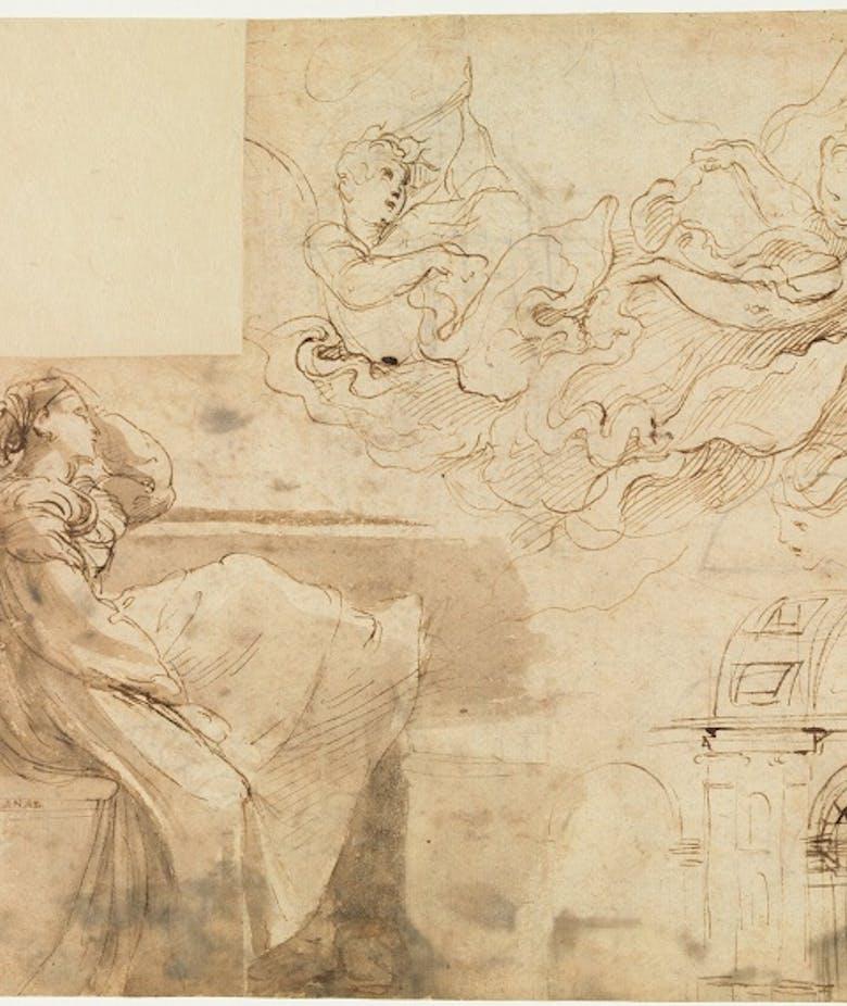 Giovane donna seduta al parapetto di una finestra e altri studi, di figura e architettonici