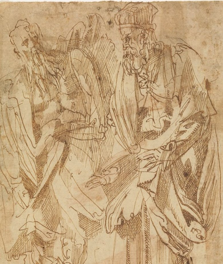 Two male figures, standing, dressed in the old style