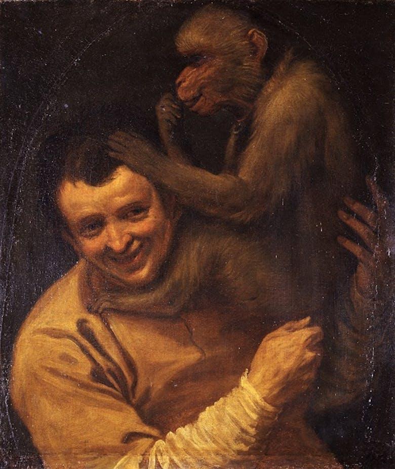 Ritratto di uomo con scimmia