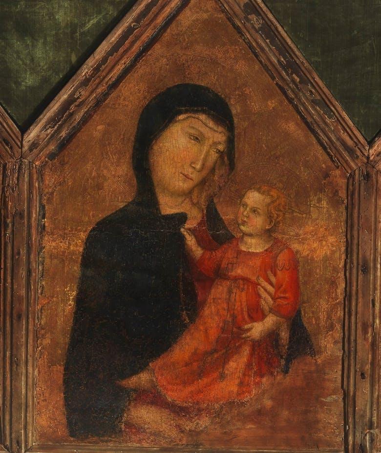 Madonna col Bambino, un santo vescovo e un santo papa
