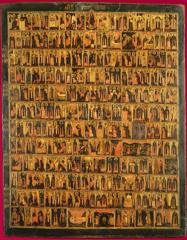 Fig.3 Bottega russa, Menologio del semestre settembre – febbraio, c. 1725-1750, tavola,  cm 70 x 54, inv. 1890 n. 5954