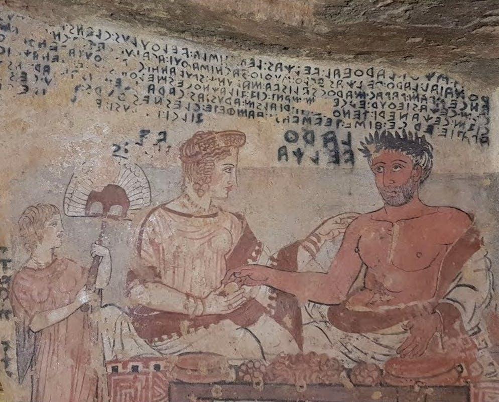 : Dettaglio della Tomba degli Scudi, Tarquinia, IV sec.a.C.