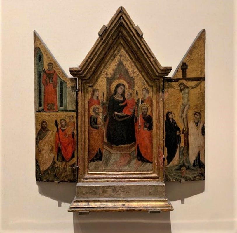 Fig. 2: Pacino di Buonaguida e bottega - Madonna in trono con Bambino, due Sante martiri, San Pietro e San Paolo; un Santo diacono, San Giovanni Battista e San Cristoforo (laterale sinistro); Crocifissione con la Madonna e San Giovanni evangelista (laterale destro), 1320-1330