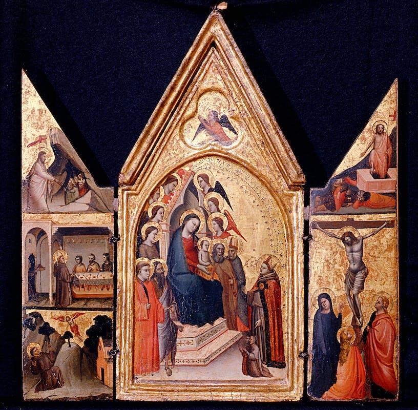 Fig. 3: Jacopo del Casentino - Madonna con Bambino in trono fra San Bernardo e San Giovanni Battista; Stimmate di San Francesco e Santa Margherita e Santa Lucia; Crocifissione,  1320-25