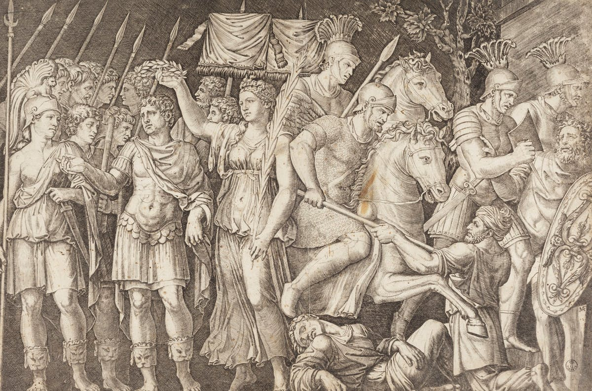 Marcantonio Raimondi, Traiano vittorioso, incisione, primo quarto del XVI secolo
