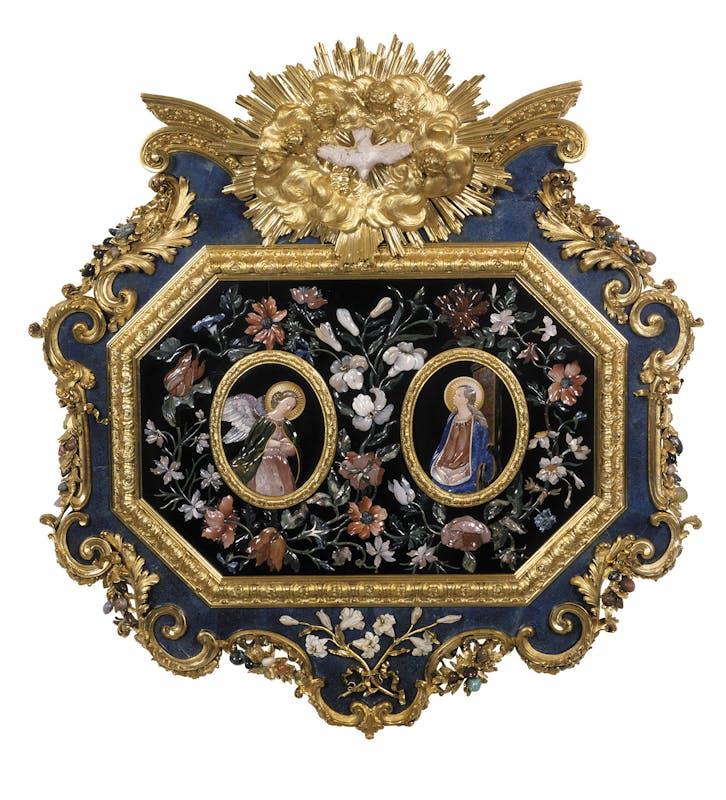 Giovan Battista Foggini e Botteghe granducali Placca con Annunciazione 1722 bronzo dorato e pietre dure Badisches Landesmuseum, Karlsruhe
